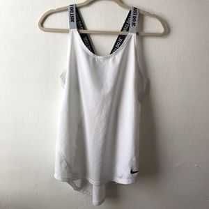 Nike Dri Fit Just Do It Criss Cross Tank White